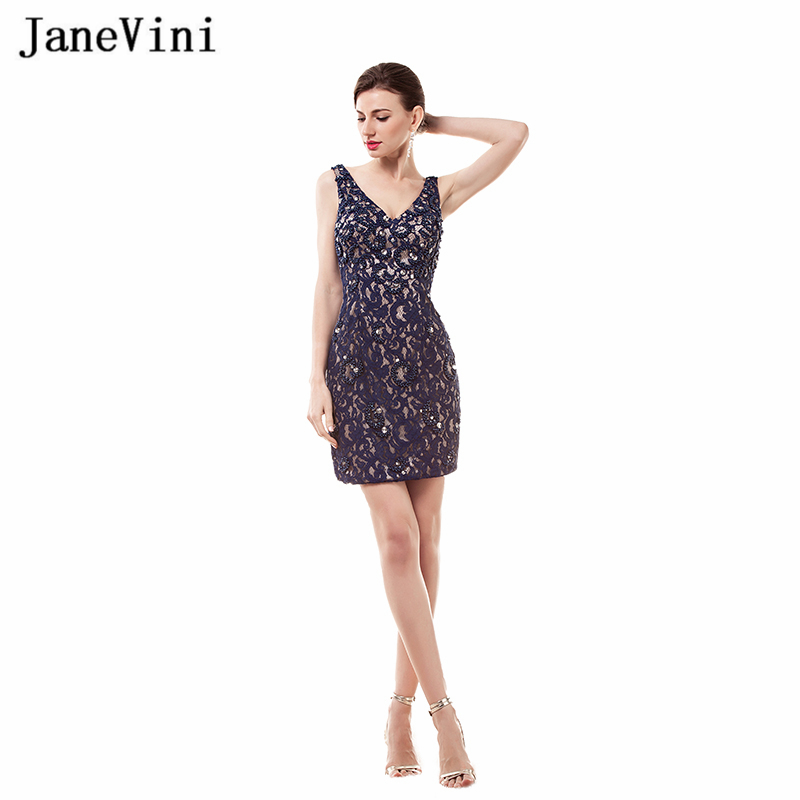 JaneVini Vintage Lace Short   Cocktail     Dresses   Straight V Neck Sleeveless Crystal Beaded Wedding Formal   Dress   Vestidos De Coctel