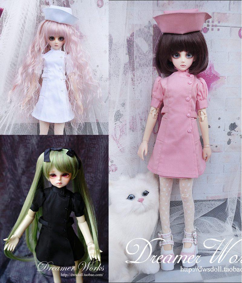 07079a816 1/6 1/4 1/3 escala enfermeira vestido + chapéu terno para BJD BJD/SD roupa  da boneca boneca acessórios, Não incluído boneca, sapatos, peruca e outros  ...