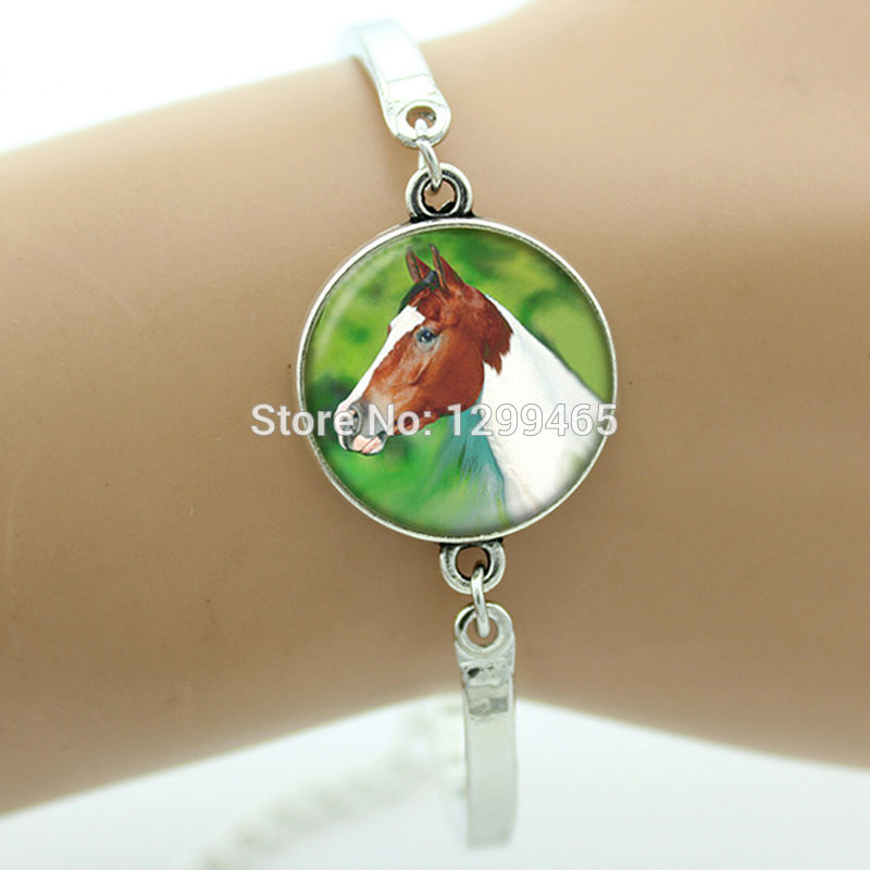 Fashion jewelry horse bracelet for friends hottest animal jewellery 20 mm glass cabochon Fox Bull Cow charms for boys girls B696