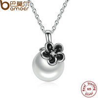 BAMOER 925 Sterling Silver Mystic Floral Pendant Necklace White Pearl Necklaces Pendants Colares Jewelry PSN002