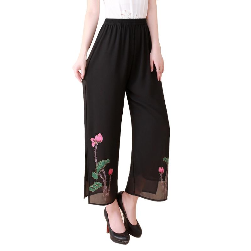 2019 Women's Summer Casual Floral Print   Wide     Leg     Pants   Vintage High Waist Chiffon Trousers Black White Plus Size L-4XL