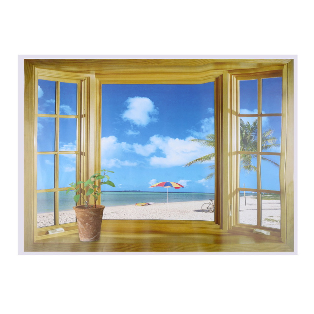New Window Scenery Beautiful Sea Beach View Wall Sticker Fake Poster Decorative Stickers Home Decor