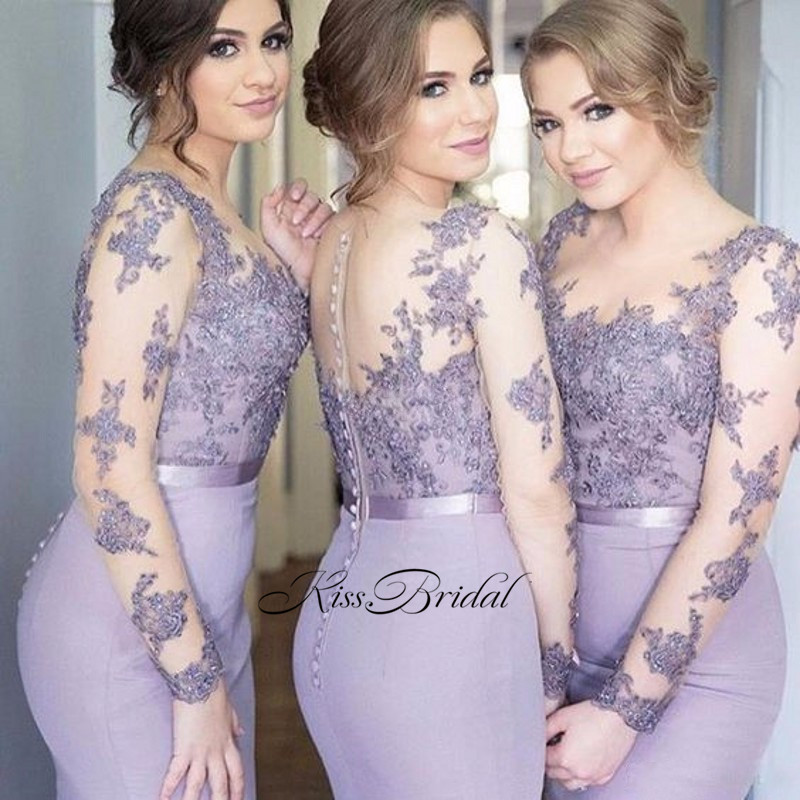New Arrival Sexy   Bridesmaid     Dresses   Long O-Neck Long Sleeves Court Train Appliques Satin Wedding Party   Dresses   Vestido longo