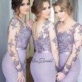 Nueva Llegada Sexy Vestidos de dama de Honor Larga Del O-cuello Mangas Largas Tribunal Tren Apliques de Raso de La Boda Vestidos de Fiesta Vestido longo