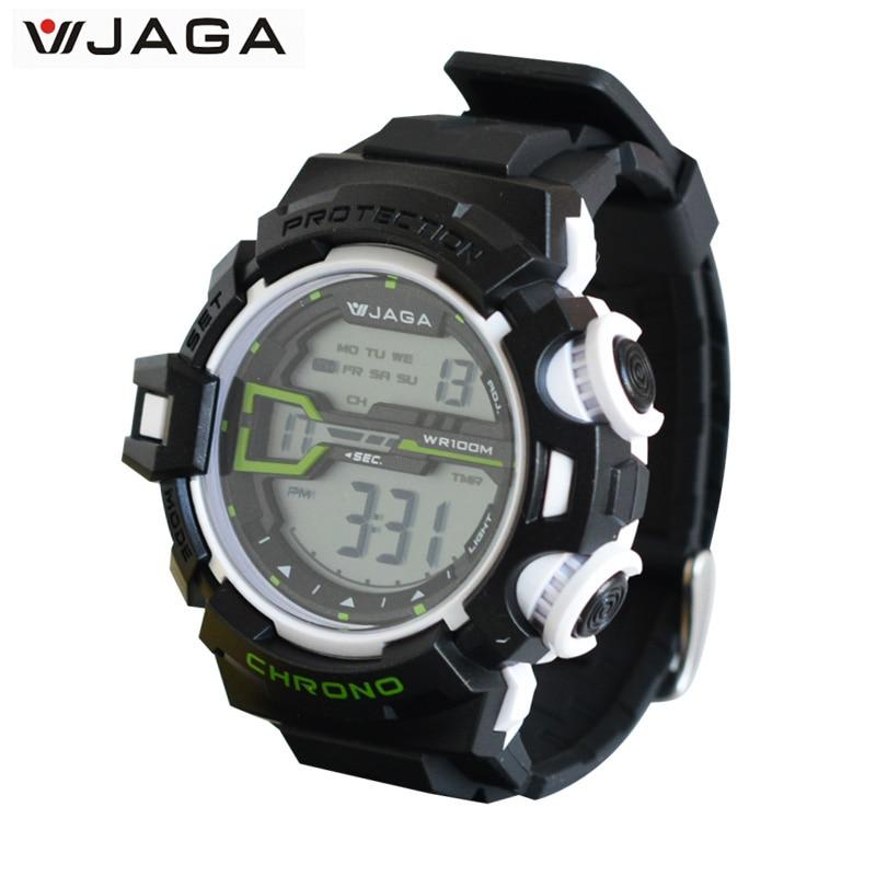 JAGA Men's Military Watch Sports Watches Dive Swim Climbing LED Digital Fashion Outdoor Men Wristwatches M1107