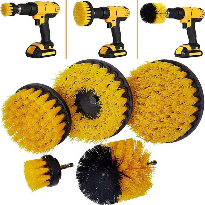 2 3.5 4 5 Inch Solid  Hollow Drill Power Scrub Clean Brush For Leather Plastic Wooden Furniture  Cleaning Power Scrub, Yellow
