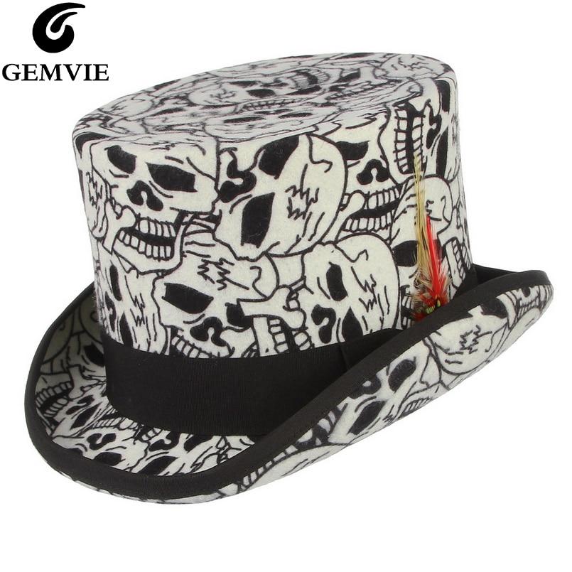 GEMVIE 100% Wool Felt White Top Hat Skull Mad Hatter Costume Accessory Handmade Cylinder Hat For Women Men Party Fedora