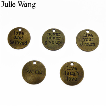 Julie Wang 5PCS Alloy Mixed Inspiration Aphorism Antique Bronze Charms For Neckalce Pendant Findings Jewelry Making Accessories image