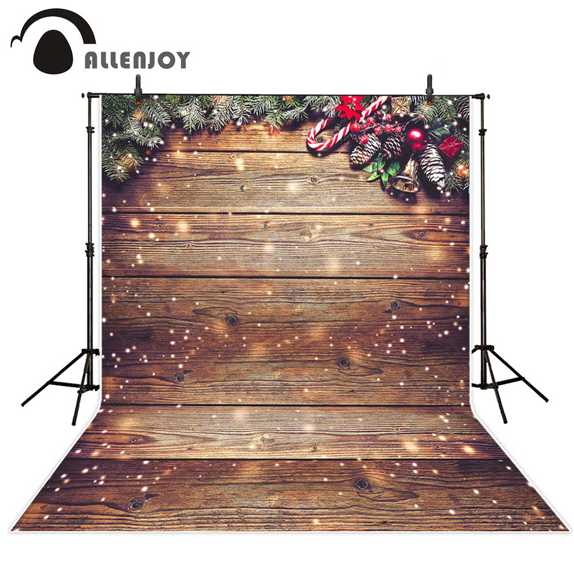 Allenjoy new photography background Christmas bokeh wood crutch leaves backdrop photocall photographic professional christmas background for photography wood flower green yellow rose colorful new born xmas customize photocall