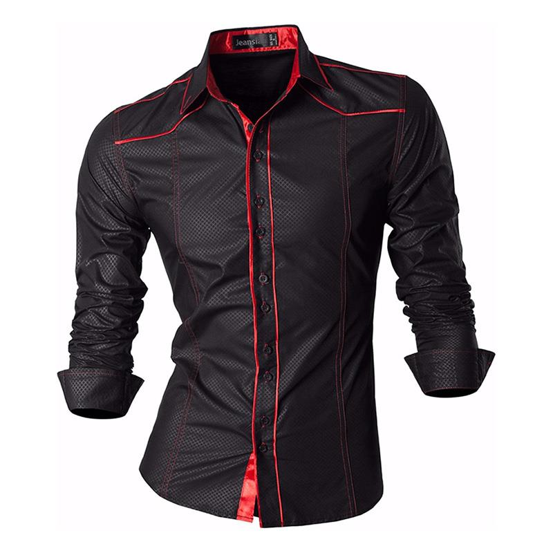 Jeansian Men's Fashion Dress Casual Shirts Button Down Long Sleeve Slim Fit Designer Z034 Black