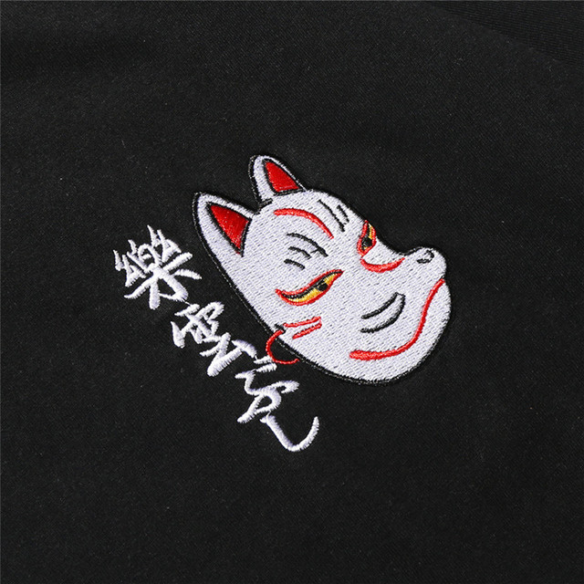 Bebovizi Brand 2018 Streetwear Japan Style Ukiyo E Funny Samurai Cat TShirts Mens Short Sleeve T-shirts Hip Hop Embroidery Tees 2