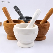Mortar and Pestle Kitchen Garlic Mills Pounder Cuisine Mixing Pot Herb Pepper Minced Tool Grinder DH56