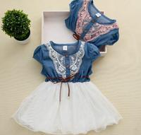 2015 New Fashion Girls Baby Lace Belt Tutu Cowboy Dress Children Patchwork Mesh Dresses For Girl