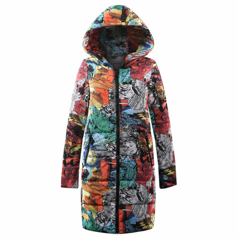 Winter Warm Womens Long Down Cotton printing Parka Hooded Coat Quilted Jacket Ladies medium long sleeve zipper thickened Outwear