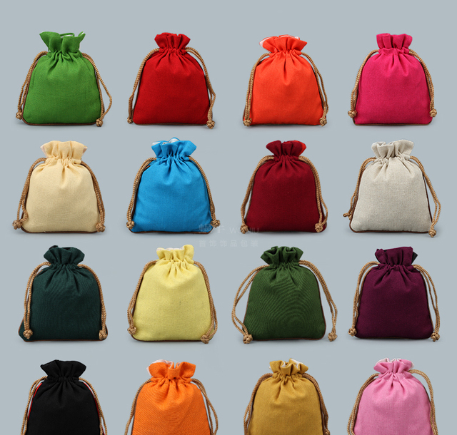 Plain Cotton Linen Drawstring Bag Chrsitmas Gift Bags Diy Small Wedding Party Favor Jewellery Pouch