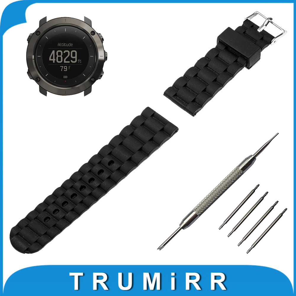 24mm Silicone Rubber Watch Band Stainless Steel Pin Buckle Strap +Tool for Suunto TRAVERSE Replacement Wrist Belt Bracelet Black silicone rubber watch band 15mm 16mm 17mm 18mm 19mm 20mm 21mm 22mm for mido stainless steel pin buckle strap wrist belt bracelet
