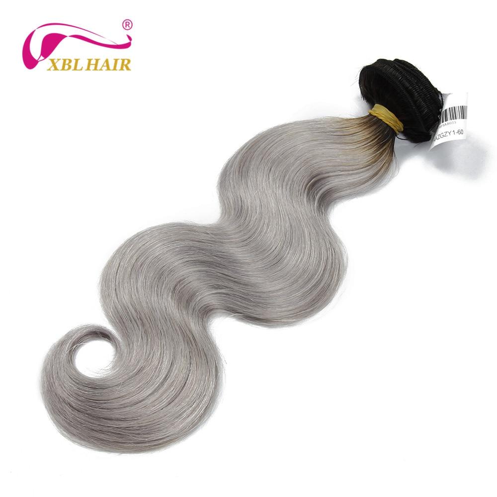 XBL HAIR Ombre #1B/grey Human Hair Extensions 1pc Brazilian Virgin Hair Body Wave Human Hair Weaves Free Shipping