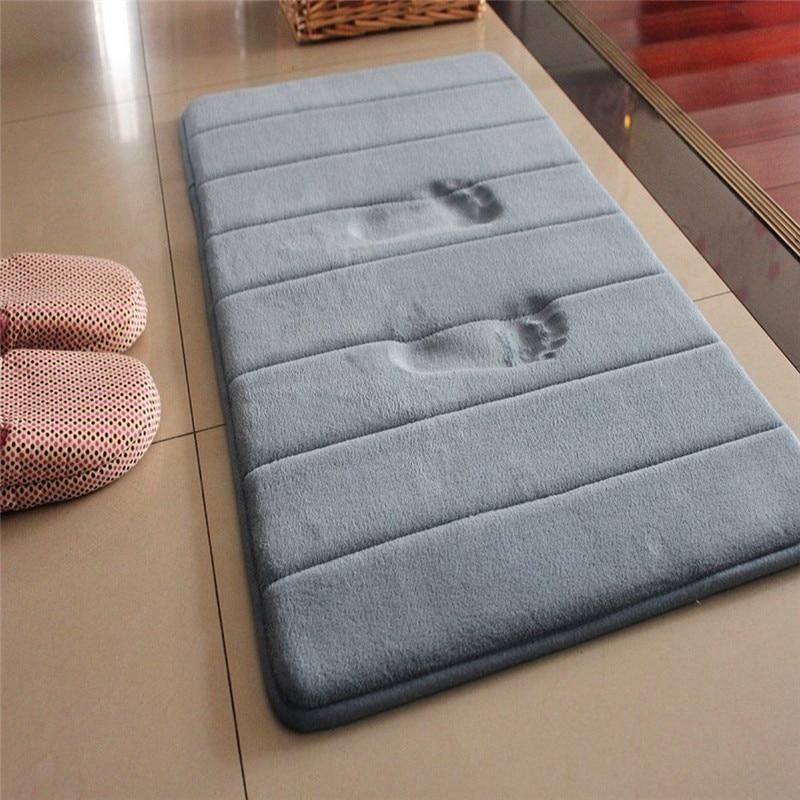 2019 New 40*60cm Bath Mat Bathroom Carpet Water Absorption Rug Shaggy Memory Foam Bathroom Mat Kitchen Floor