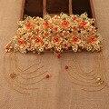 Традиция китайский свадебный головной убор невесты аксессуары для волос Корона золотой орнамент волос красный Pankou повязка свадебный волосы ювелирные изделия