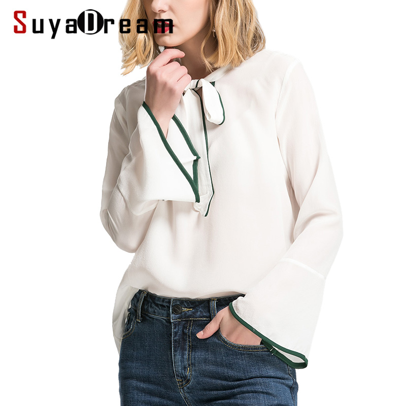 Women Silk   blouse   100% REAL silk crepe Long sleeved White   blouse     shirt   Bow collar Casual 2018 Fall Winter top New