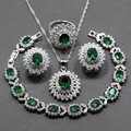 A Nice Flower Green Created Emerald White Crystal 925 Sterling Silver 4PCS Jewelry Set Earring Pendant Necklace Ring For Women