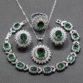 Una Bonita Flor Verde Creado Esmeralda Cristal Blanco 925 Plata Esterlina 4 UNIDS Conjunto de Joyas de Colgante, Collar Pendientes Anillo Para mujeres