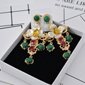 Vintage Palace Brand Jewelry Baroque Big Cross Gold Leaves Earrings For Women Pendientes Mujer Green Resin Beads Gifts 412