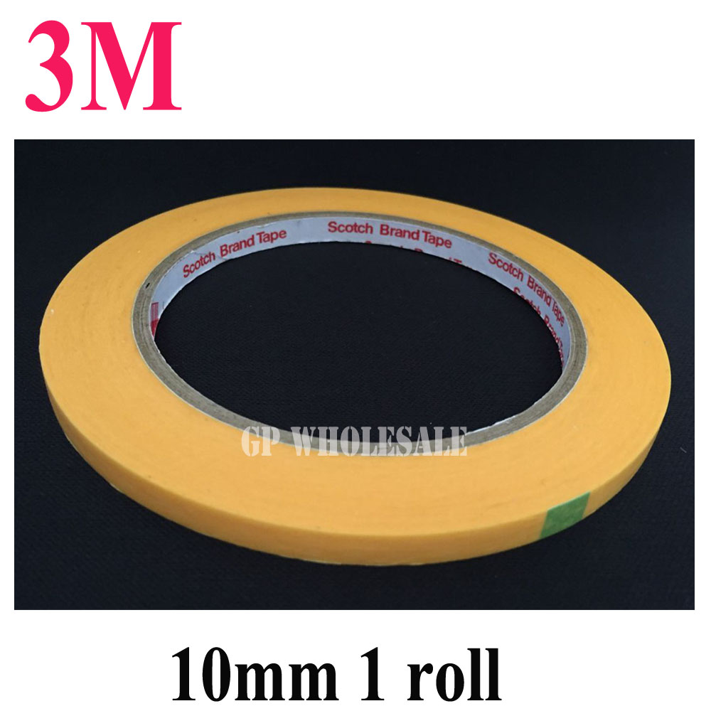 1x 3M New 10mm*50M High Temperature Resistant Adhesive Masking Tape 3M244 for Hold Bundle Seal and Paint masking #24 kitcyo543115042mmm2342 value kit scotch general purpose masking tape 234 mmm2342 and crayola artista ii washable tempera paint cyo543115042