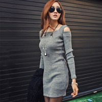 Square Collar Sexy Off Shoulder Knitting Long Sleeve Dress 2017 Autumn Winter Women Sheath Stretch Casual