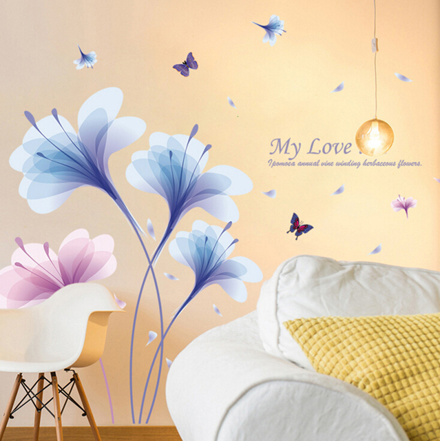 Dream orchids butterfly large wall stickers flowers home decor ...