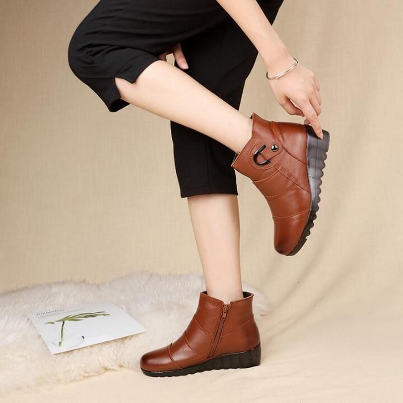 Mujer Algodón Zapatos Gruesa De Piel Madre Vaca amarillo Invierno Genuino  Rushiman Cuero Nieve Antideslizante Botas ... 2f330207cea38