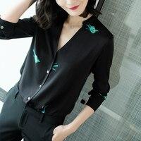 Ранняя осень новый любимые краны черный воротник V шелк блузка рубашка 2018 Для женщин летняя рубашка Новый стиль