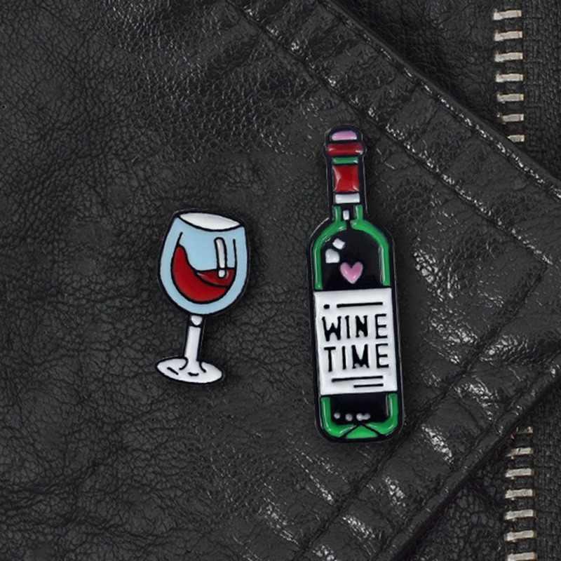 1-2 Pcs Anggur Enamel Pin Gelas Anggur dan Anggur Botol Bros Anggur Waktu Kecil Logam Bros Pin Lencana hadiah untuk Wanita Pria Kekasih