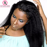 Kinky Straight Full Lace Wigs Brazilian Glueless Lace Wig Coarse Yaki Human Hair Wigs For Women Long Black Remy Rosa Queen