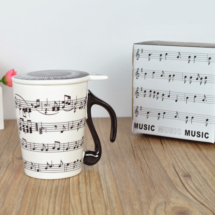 A Creative Ceramic Music Mug Music Mug Couple Keyboard Mug with Lid Creative Gift Mug