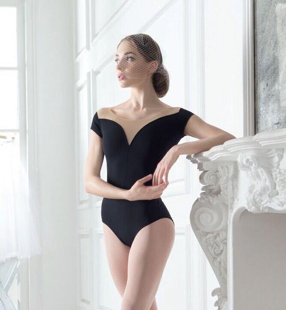 Sleeveless Lycra cotton ballet leotards for women Black V-neck ballet dance costume Female aerial yoga wear