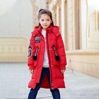Bilemi kids winter jacket girls winter coat solid hooded parkas for girl coat winter
