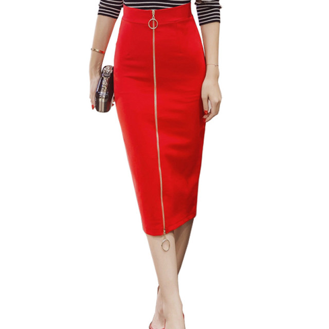 38c688a766e0 Saia Midi 2017 Sexy Novelty Zipper Bodycon Pencil Skirt High Waist  Streetwear Skirts Elegant Women Long Skirts S-5XL Plus size