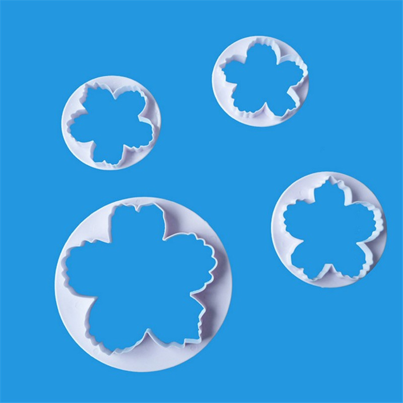 TTLIFE 4PCS Peony Petals Plastic Pattern Cookie Cutter Flower Press Baking Mold Fondant Cakes Pastry Chocolate Decorating Tools in Baking Pastry Tools from Home Garden