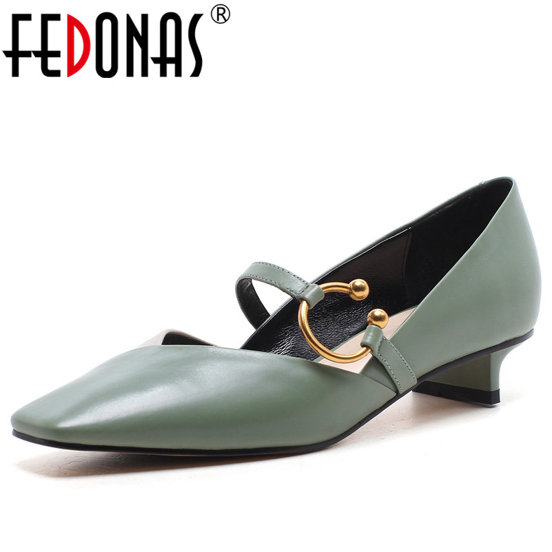 FEDONAS Women High Heels Pumps Mary Jane Buckles Gladiator Pumps Chunky Heels Genuine Leather Shoes Woman Square Toe Pumps купить недорого в Москве