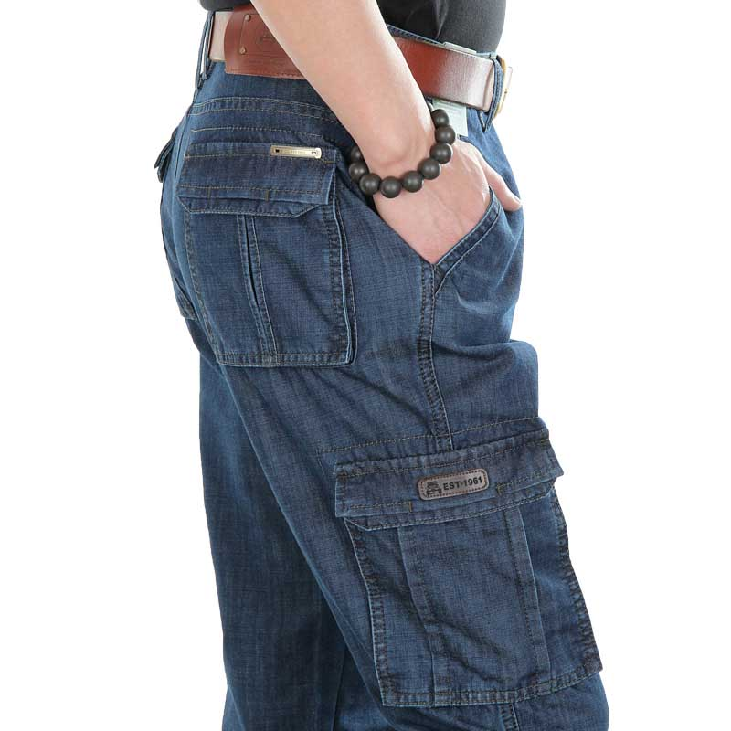 Spring Summer Jeans Brand Cargo Pants With Big Pocket Men Denim Pants Casual Straight Loose Baggy Trousers Male Hip Hop Joggers