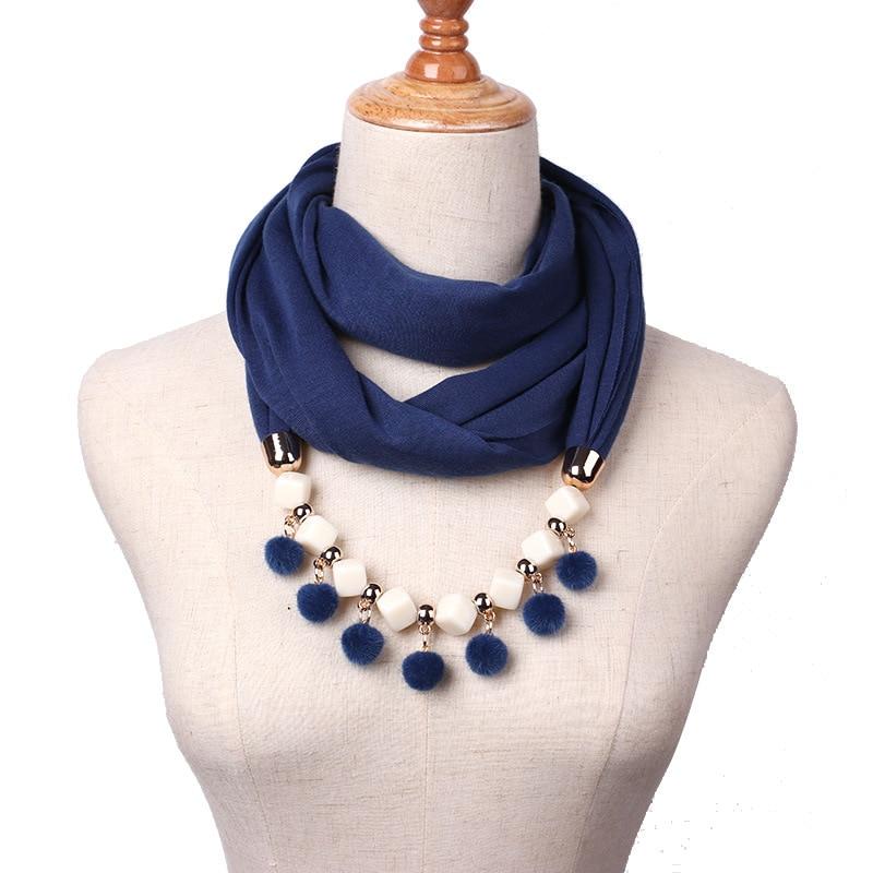 2017 Fashion 10 Colors Neckerchief Cotton Scarf Necklaces Beads Pompom Statement Maxi Necklaces Women Muffler Neckerchief Bijoux цена
