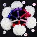 Barato simples rosa flores do casamento da dama De honra buquê 2016 cristal cetim Noiva buquê Buque De Noiva Artificial F01