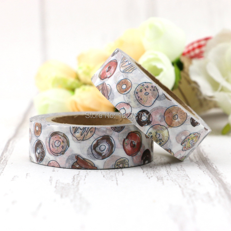 1pcs 1.5cm Wide Delicious Donuts Paper Washi Tape Adhesive DIY Scrapbooking Sticker Labe ...