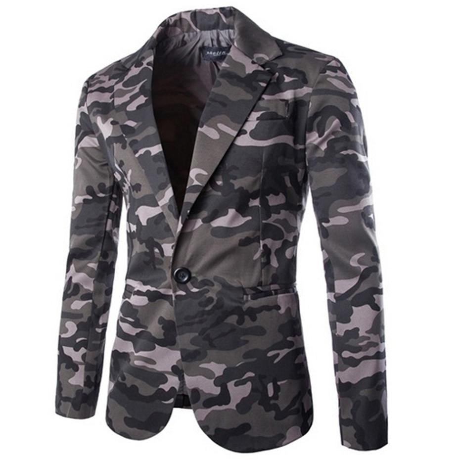 Men's Blazer Camouflage Men Slim Fit Casual Coats  1