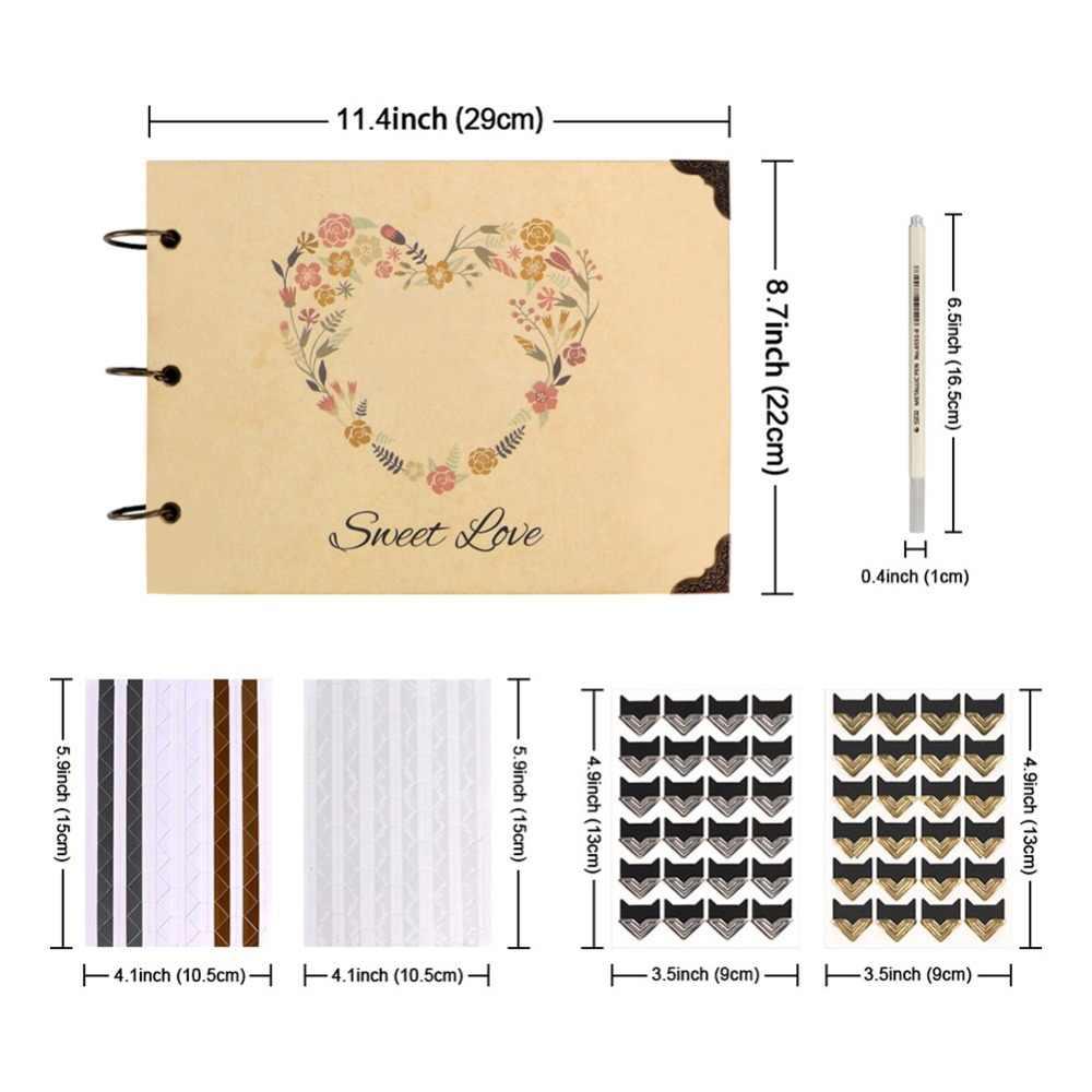 OurWarm 60 صفحة DIY بها بنفسك ألبوم صور الزفاف كرافت ورقة ضيف كتاب الذكرى هدايا عيد ميلاد كتاب الذكريات السفر ألبوم سجل القصاصات