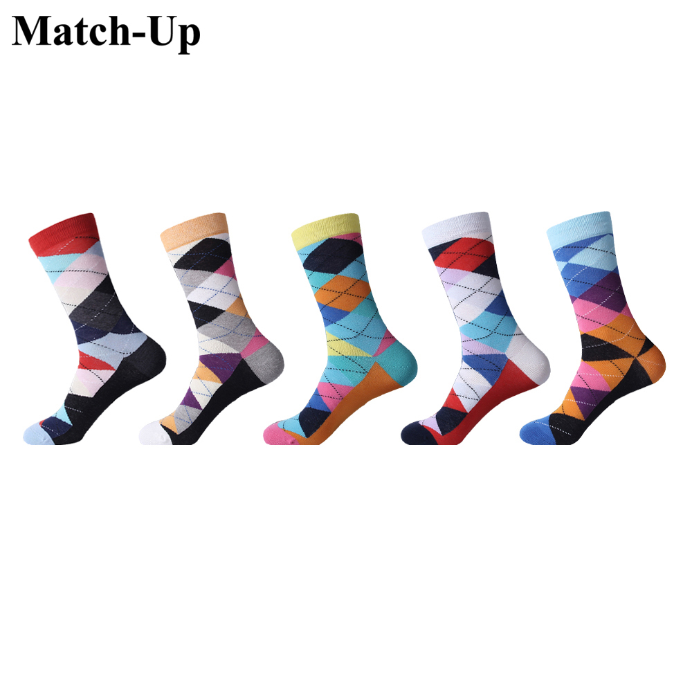 Us 7.5-12 Match-up Mens Colorful Combed Cotton Multi Pattern Combed Cotton Colorful Crew Rhombus Lattice Socks 5 Pairs/lot