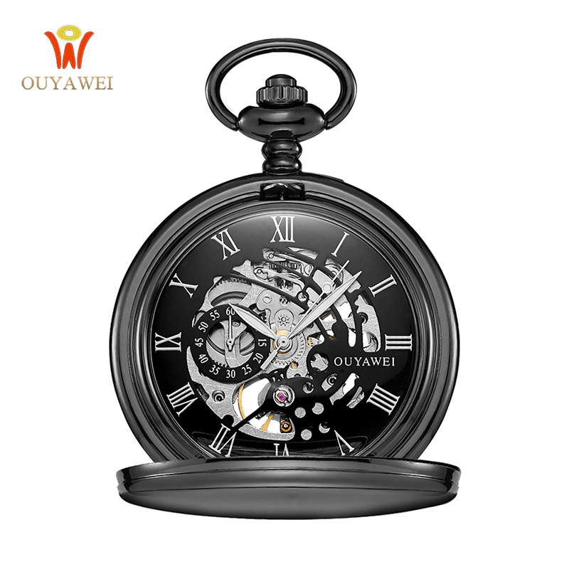 Steampunk Mechanical Pocket Watch Chain Men Vintage Bracelet Watch Skeleton Male Clock Transparent Black Retro Watches steampunk mechanical silver black mental flower cover pocket watch chain women men watches free shipping p837 8c