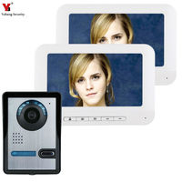 7 Inch TFT 2 Monitors Video Door Phone Doorbell Intercom Kit 1 camera 2 monitor Night Vision with IR CUT HD 700TVL Camera