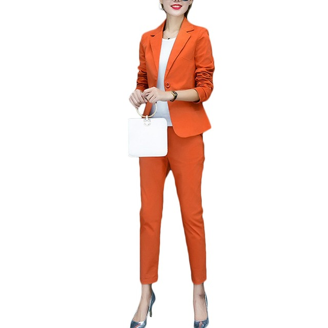 2016 fashion style OL elegant women pant suits formal business suit wear full sleeve single button femme blazer suit slim jacket